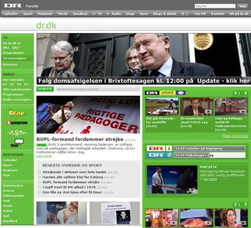 dr.dk forsiden med Brixtofte retssag som tophistorie