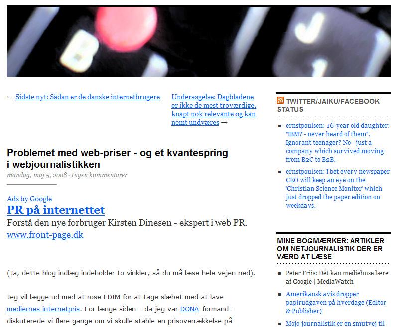 "Skærmdump fra wordpress-artikel med annonce for ""pr på internettet"