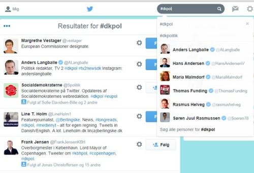 """Hvis man søger på """"#dkpol"""" i Twitters søgefelt - og har hakket af ved """"personer"""" får man automatisk en oversigt over folk, der har brugt det hashtag i deres bio-beskrivelse. Søgealgoritmerne kunne være bedre, men det er en fin måde at finde folk inden for et fagområde som man kan følge."""